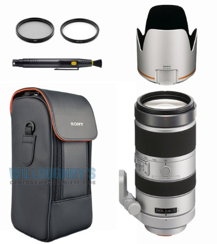 Sony 70-400Mm F4-5.6 G Ssm Super Telephoto Zoom Lens + Sony Lens Hood + Sony Lens Case + Multi-Coated 2Pc Essential Filter Kit + Safe And Clean Bundle