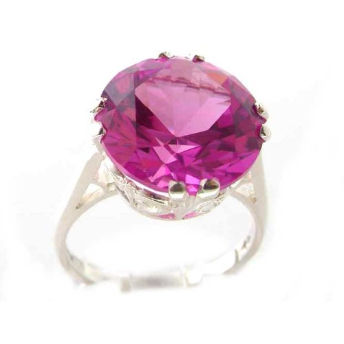 Luxury Sterling Silver Womens Large Round Solitaire Synthetic Pink Sapphire Basket Ring - Size 12 - Finger Sizes 5 to 12 Available - Suitable as an Anniversary ring, Engagement ring, Eternity ring, or Promise ring