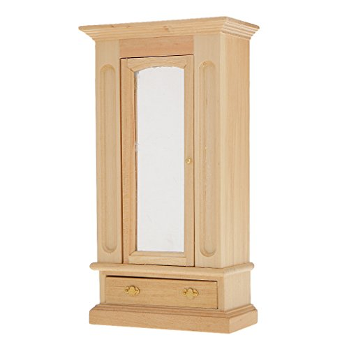 1:12 Scale Dollhouse Miniature Bedroom Furniture Clothes Wardrobe with Opening Mirror Door Drawer Natural Wooden