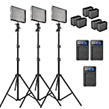 Aputure Amaran AL-528S CRI 95+ 528 Led Video Light Panel Studio LED Lighting Kit with Light Stand, Sony NP-F960 Battery Pack and Pergear Clean Kit - Pack of 3 (Color: SSS)