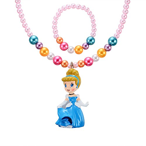 MBOX Childrens Girls Jewelry 2pc Faux Pearl Princess Bracelet & Necklace Set (Blue Cinderella) - 1