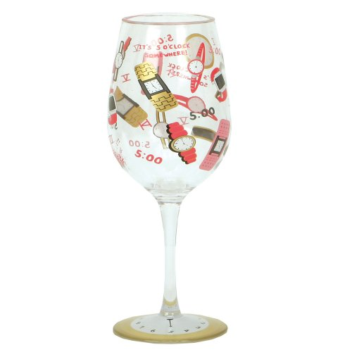 Cr Gibson Lolita Love My Party Of Two, 5 O' Clock Somewhere 16-Ounce Acrylic Wine Glasses, Set Of 2 front-145833