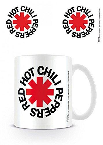 Set: Red Hot Chili Peppers, Logo White Tazza Da Caffè Mug (9x8 cm) E 1 Sticker Sorpresa 1art1®