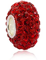 Simulated Ruby Crystal July Birthstone With 925 Sterling Silver Core Bead Fits Pandora Charm Bracelet