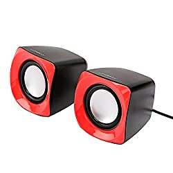 UMEKO Impulse USB-Powered Portable Stereo Speakers for Tablet/eReader/MP3/PC/Laptop Superior Bass - RED