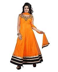 Ecoco Fashion Women's Net Anarkali UnStitched Dress Materials (ECOCO-LOOK50, Orange)