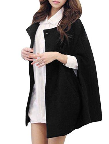 Allegra K Women Winter Single Breasted Poncho Cape Coat Cloak Jacket
