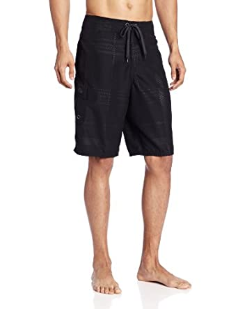 Gotcha Men's Embossed Plaid Boardshort, Anthracite, 30