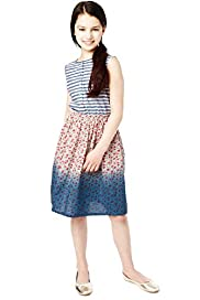 Pure Cotton Striped & Floral Skirt Dress