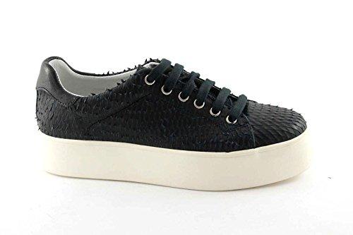 FRAU 37A4 nero scarpe donna sneakers lacci pelle plateaux 37