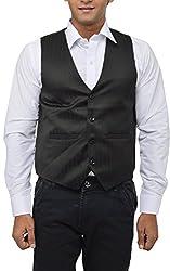 MD Men's Satin Waistcoat (Self Big_XL, Black, XL)