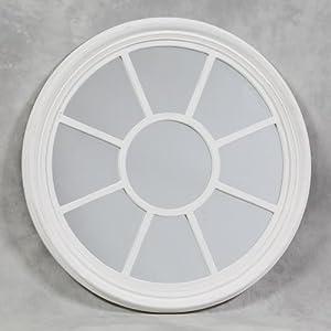 Large round shabby white porthole mirror for Large white round mirror