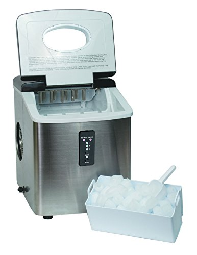 ... Counter Top Ice Maker With Over-Sized Ice Bucket, Stainless Steel