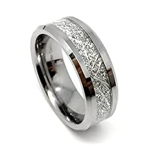 "buy "" Free Laser Engraving "" 8Mm Tungsten Carbide Meteorite Men'S Ring (Available Sizes 8-14 Including Half Sizes) (10)"