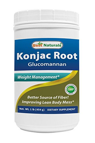Glucomannan Konjac Root Powder 1lb by Best Naturals (Glucomannan 100% Pure Powder) - Supports Healthy Weight Management - Manufactured in a USA Based GMP Certified Facility and Third Party Tested for Purity. Guaranteed!! (Konjac Root Extract compare prices)