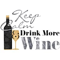 RoomMates RMK2373SCS Keep Calm and Drink Wine Quote Peel and Stick Wall Decals, 1-Pack from RoomMates