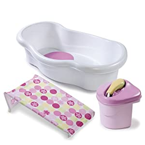 Chậu tắm có vòi hoa sen Summer Infant Newborn to Toddler Bath Center and Shower Pink 08295A