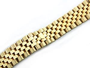 Mens 18ky All Gold Jubilee Watch Band for Rolex 20mm