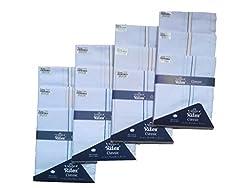 Ritex White 100% Cotton Handkerchiefs for Men- Pack Of 12 Pcs.