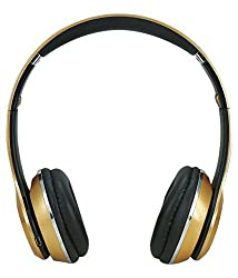 Micomy S-460 Wireless Bluetooth Headphone with Aux cable connector -Gold