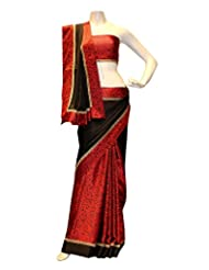 CHAMING Black And Red Satin Silk Saree
