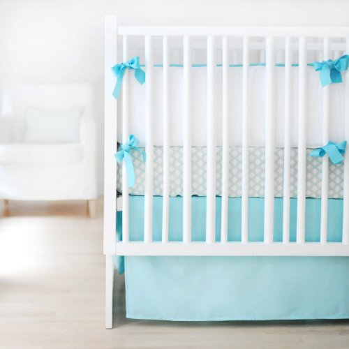 New Arrivals Sweet and Simple Crib Bedding Set, Aqua, 3 Piece