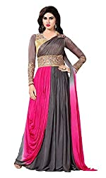 Kuvarba Fashion Multicoloured Georgette Anarkali Gown Semi Stitched Dress Material