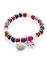 M&S Collection Bead & Diamanté Heart Charm Stretch Bracelet