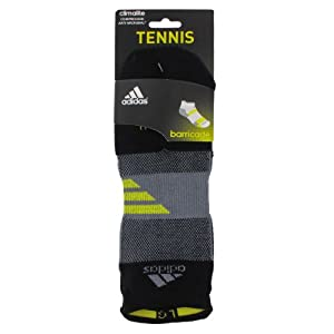 adidas Men's Barricade Tennis No Show Sock, Black/Tech Grey/Vivid Yellow, Small