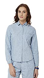Chumbak Women's Button Down T-Shirt (CSW003 XL_Blue_XL)