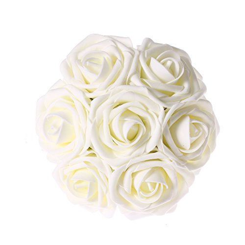 Ling's moment Artificial Flowers Decorations 50pcs Latex Real Touch Roses Wedding Bouquets Centerpieces DIY (Ivory)