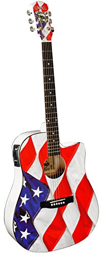 Indiana Usa-1Ce Acoustic-Electric Guitar, Red White And Blue