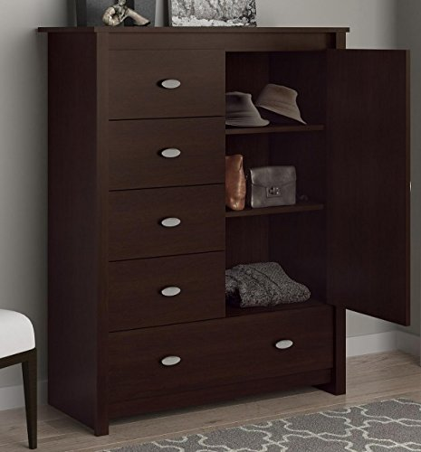 Wardrobe Closet Wood Armoire   Bedroom Bureaus And Dressers With Drawers In  Espresso