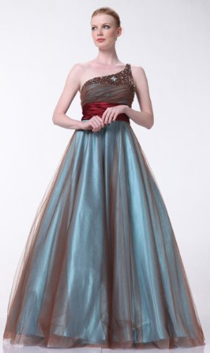 ONE SHOULDER BEADED BALL GOWN EVENING PROM DRESS