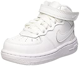 Nike Toddlers Force 1 Mid (TD) White/White/White Basketball Shoe 9 Infants US