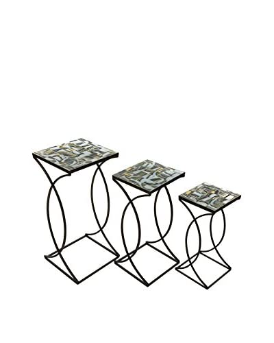 Set of 3 Crowley Mosaic Nesting Tables As You See