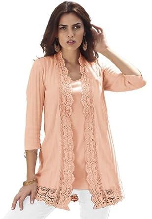 Roamans Women's Plus Size Crochet Trim Cardigan (Fresh Peach,1X)