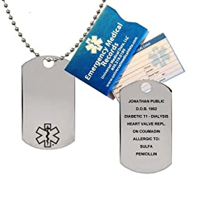 "Medical Alert ID Brushed Stainless Steel Dog Tag with 24"" 3mm Bead Chain (incl. up to 18 lines of personalized engraving) by Universal Medical Data"