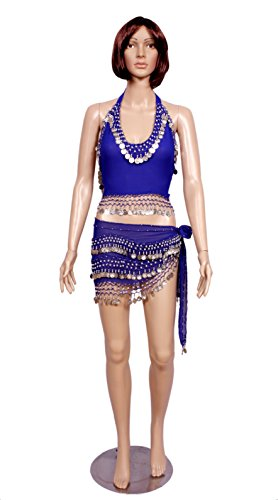 A 2pc Set of Blue Belly Dance Skirt-top & Beaded Hip Scarf Costume Set