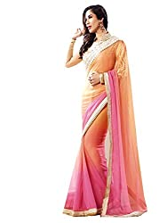 SayShopp Fashion Women's Saree with Blouse Piece (Orange)