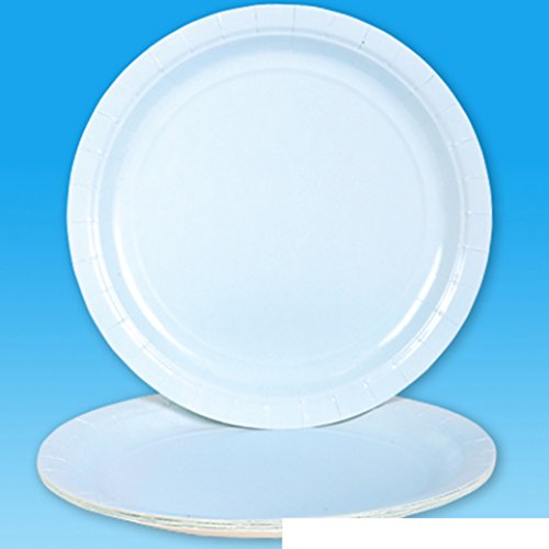 Lot Of 25 Light Baby Blue Paper Dinner Party Plates - 9""