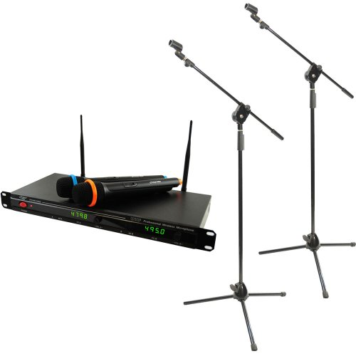 Pyle Mic And Stand Package - Pdwm2800 Professional Uhf Wireless Microphone System With 2 Microphones - 2X Pmks3 Pair Of Tripod Microphone Stand W/ Extending Boom