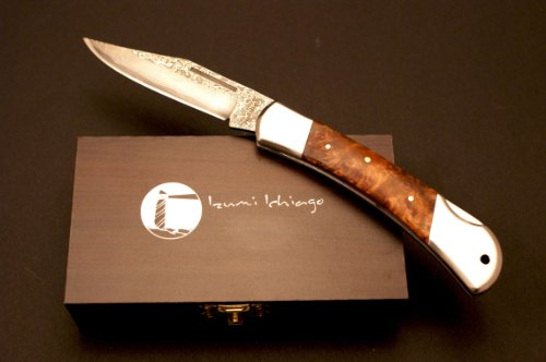 Izumi Ichiago - Big Fox Folder - Japanese Damascus Steel , With Precious Wooden Box