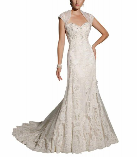 GEORGE BRIDE Designer Mermaid Lace Court Train Wedding Dress Size 12 White