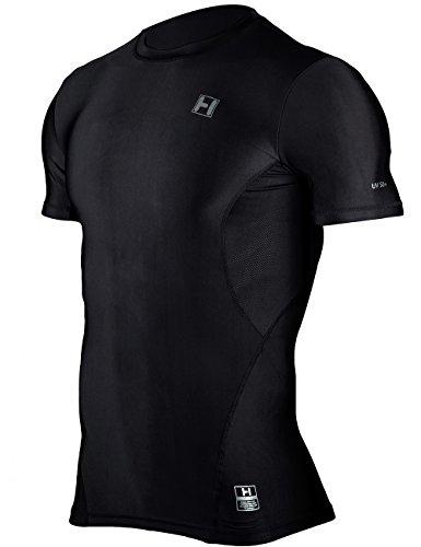 Hugesports Men's Short Sleeves Running Exercise Workout Fitness Baselayer Compression Shirt Black XLarge