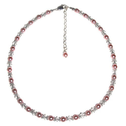 Sterling Silver Children's Jewelry Necklace for Girls with Pink Pearls and Crystals in Heart Gift Box, 12-14 inch adjustable