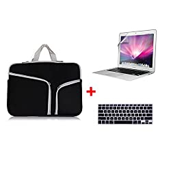 Laptop Sleeve,Go Crazzy Zipper Briefcase Soft Neoprene Handbag Sleeve Bag Cover Case for With Free LCD Clear Screen Protector Film Guard + Keyboard Protector for macbook pro non retina display