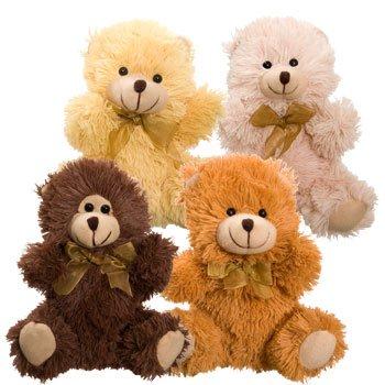 """Cuddly Cousins Plush Sitting Bears, 7"""" (Buff)"""
