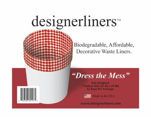 Designerliners Red Gingham Trash Bags12 Pack - 7 Gallons - 21 by 24