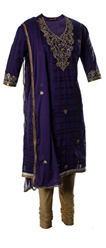 Purple Self Checked Glazed Cotton Kameez With Kundan And Boolean Hand Worked Churidar Suit